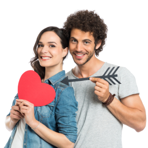 Loving Couple Holding Arrow And Heart